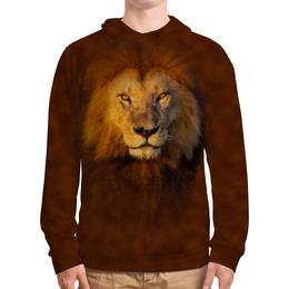 """Толстовка с полной запечаткой """"Лев     """" - хищник, животные, коричневый, грива, кошачьи"""