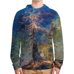 """Толстовка с полной запечаткой (Мужская) """"Космическая сосна"""" - космос, лес, графика, синий, дерево"""
