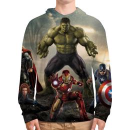 """Толстовка с полной запечаткой (Мужская) """"Мстители (Avengers)"""" - железный человек, капитан америка, халк, черная вдова"""