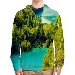 """Толстовка с полной запечаткой """"Природа"""" - природа, красота, озеро, река, деревья"""