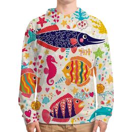 """Толстовка с полной запечаткой (Мужская) """"Обитатели моря 2"""" - море, рисунок, рыбки, обитатели моря"""