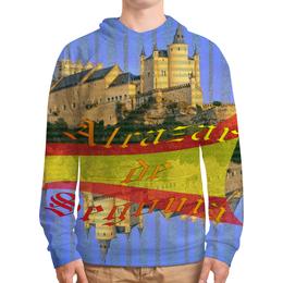 """Толстовка с полной запечаткой (Мужская) """"Средневековой испанский замок Сеговия."""" - голубой, испания, полоски, крепость, испанский флаг"""