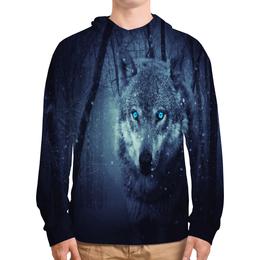 """Толстовка с полной запечаткой """"Волчий взгляд"""" - хищник, животные, снег, природа, волк"""