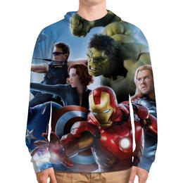 """Толстовка с полной запечаткой (Мужская) """"Мстители (Avengers)"""" - hulk, iron man, black widow"""