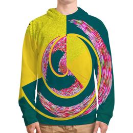 """Толстовка с полной запечаткой (Мужская) """"Спираль"""" - спираль, желтый, зеленый, розовый, кольца"""