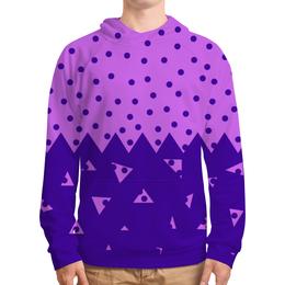 """Толстовка с полной запечаткой (Мужская) """"Падающие треугольники"""" - сиреневый, фиолетовый, треугольник, горох, половина"""