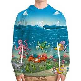 """Толстовка с полной запечаткой (Мужская) """"Обитатели моря"""" - мультяшки, рыбки, обитатели моря"""