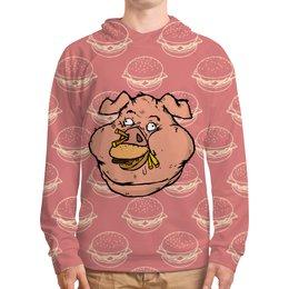 """Толстовка с полной запечаткой """"Свинья с бургером"""" - свинья, fastfood, фастфуд, бургер, burger"""