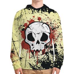 """Толстовка с полной запечаткой (Мужская) """"Grunge Skull"""" - skull, череп, гранж, хэллоуин, байкер"""