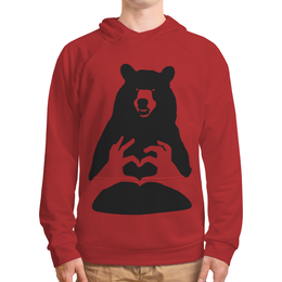 "Толстовка с полной запечаткой ""BEAR - One Love - Blood Red"" - толстовка с капюшоном, красная толстовка, красная толстовка с капюшоном, толстовка с медведем, красная толстовка с медведем"
