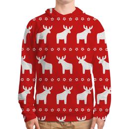 """Толстовка с полной запечаткой (Мужская) """"новогодние олени"""" - новый год, рождество, нг, олени"""