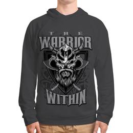 """Толстовка с полной запечаткой """"Воин внутри"""" - череп, воин, warrior, викинг, рога"""