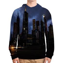 """Толстовка с полной запечаткой """"Город"""" - город, мегаполис, здания, вечер, огни"""