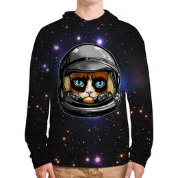 """Толстовка с полной запечаткой (Мужская) """"Кот в скафандре"""" - кот, космос, вселенная, starcraft, скафандр"""