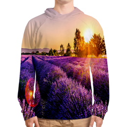 """Толстовка с полной запечаткой """"Поле цветов"""" - цветы, природа, закат, пейзаж, поле"""