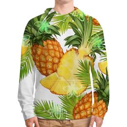 """Толстовка с полной запечаткой (Мужская) """"Ананасы"""" - фрукты, рисунок, тропики, ананасы"""
