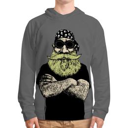 "Толстовка с полной запечаткой ""Прожженный байкер"" - череп, борода, байкер, bone, бандана"