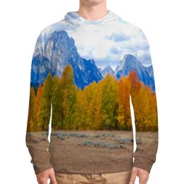 """Толстовка с полной запечаткой """"Деревья в горах"""" - осень, лес, природа, горы, пейзаж"""