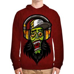 "Толстовка с полной запечаткой ""Зомби меломан"" - музыка, череп, zombie, зомби, наушники"