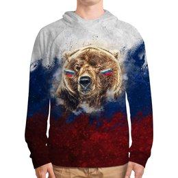 """Толстовка с полной запечаткой """"Русский Медведь"""" - флаг, триколор, россия, футбол, медведь"""