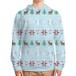 """Толстовка с полной запечаткой (Мужская) """"Рождественская сказка"""" - новый год, зима, рождество, олень, елка"""