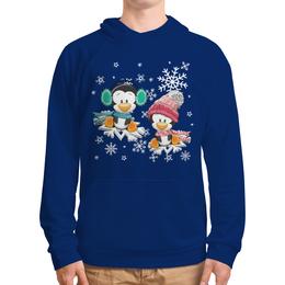 """Толстовка с полной запечаткой """"Пингвин зимой"""" - новый год, зима, пингвин, снежинки"""