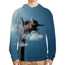 """Толстовка с полной запечаткой """"Жираф"""" - прикол, животные, небо, жираф, самолет"""