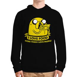 """Толстовка с полной запечаткой """"Джейк Пес - I love food"""" - dog, собака, джейк, jake, люблю поесть"""