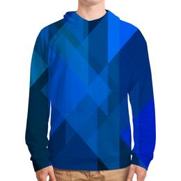 """Толстовка с полной запечаткой """"Синий абстрактный"""" - графика, синий, краски, абстракция, треугольники"""