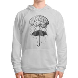 """Толстовка с полной запечаткой """"Brain rain"""" - мозг, дождь, зонт, арт, прикольные"""