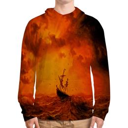 """Толстовка с полной запечаткой """"Шторм"""" - оранжевый, море, волны, корабль, шторм"""