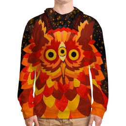 """Толстовка с полной запечаткой (Мужская) """"Осенняя сова"""" - листья, осень, лес, сова, акварель"""