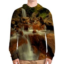 """Толстовка с полной запечаткой """"Горный ручей"""" - лес, горы, вода, пейзаж, река"""