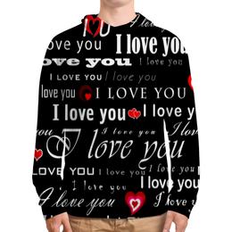 """Толстовка с полной запечаткой """"Love You"""" - сердце, любовь, сердечки, день валентина, loves"""