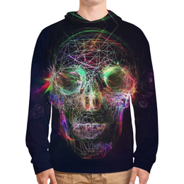 "Толстовка с полной запечаткой ""Skull - 17"" - skull, череп, арт, дизайн, rock and roll"