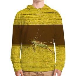 """Толстовка с полной запечаткой """"Саранча."""" - насекомое, насекомые, саранча, кузнечик, макро мир"""