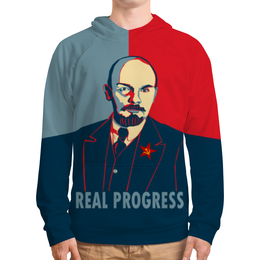 """Толстовка с полной запечаткой (Мужская) """"Ленин"""" - рисунок, ленин"""