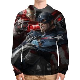 """Толстовка с полной запечаткой (Мужская) """"Капитан Америка и Железный Человек"""" - мстители, avengers, iron man, captain america"""