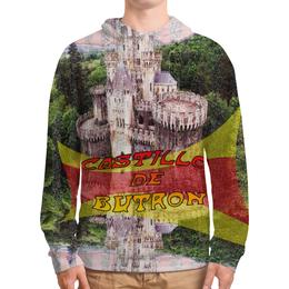 """Толстовка с полной запечаткой (Мужская) """"Замки Испании. Замок Бутрон"""" - красный, испания, полоски, крепость, испанский флаг"""