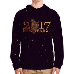"""Толстовка с полной запечаткой """"Новый год 2017"""" - подарок, символ года, петух, год петуха, rooster"""