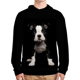 """Толстовка с полной запечаткой """"Черныш"""" - собаки, щенок, арт, акварель, черный"""