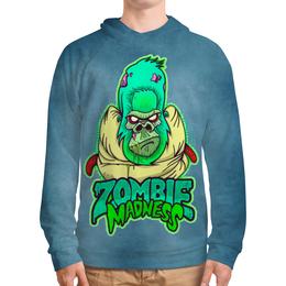 "Толстовка с полной запечаткой (Мужская) ""Zombie Madness"" - арт, zombie, зомби, обезьяна, горилла"