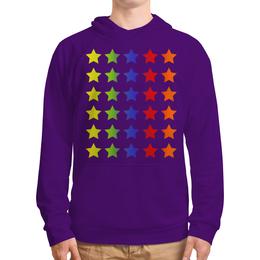 """Толстовка с полной запечаткой """"Яркие звезды"""" - звезда, яркий, цветной, ряд, пять"""