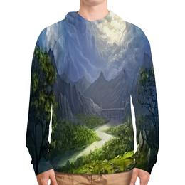 """Толстовка с полной запечаткой """"Пейзаж красками"""" - лес, природа, горы, пейзаж, река"""