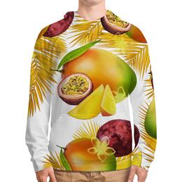 """Толстовка с полной запечаткой (Мужская) """"Тропические фрукты"""" - фрукты, рисунок, тропики, папайя, маракуйя"""