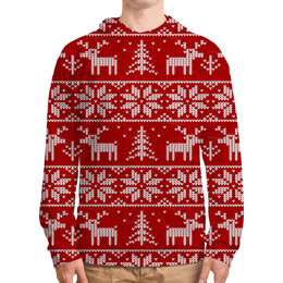 """Толстовка с полной запечаткой (Мужская) """"Рождественская сказка"""" - снег, рождество, олени"""