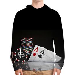 """Толстовка с полной запечаткой """"Poker Star"""" - карты, покер, туз, фишки, казино"""