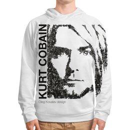 """Толстовка с полной запечаткой """"Курт Кобейн (шрифтовой портрет)"""" - nirvana, рок, курт кобейн"""