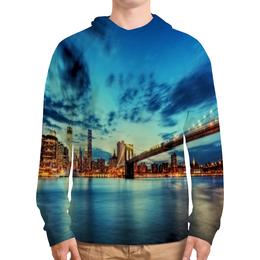"""Толстовка с полной запечаткой """"Бруклинский мост"""" - страны, города, небо, мост, река"""
