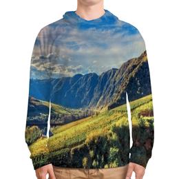 """Толстовка с полной запечаткой """"Горный хребет"""" - лес, небо, природа, горы, трава"""